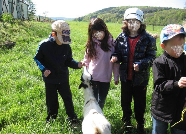 Enfants en visite à la Ferme pédagogique les 2 Collines